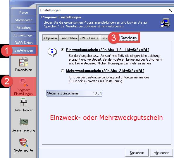 Kassenoftware mit Einzweckgutschein und Mehrzweckgutschein