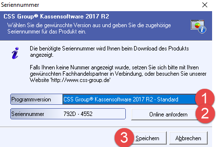 CSS Group Kassensoftware Programmversion und Seriennummer
