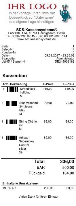 SDS Kassensysteme | Kassenbon Vorlage