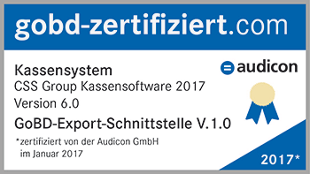 CSS Group® Kassensoftware 2017 - GoBD Zertifikat von Audicon